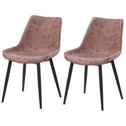 Lot de 2 chaises de salle a manger pieds en métal noir - Revetement simili PU marron - Style industriel - L 53 x P