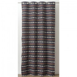 Rideau jacquard a rayures horizontales Ethnique 130x260 cm noir