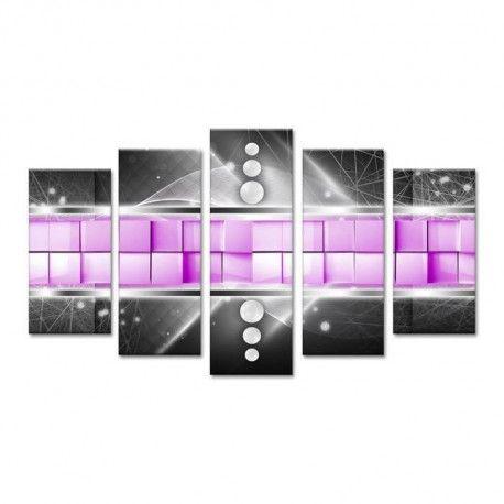cubo tableau multi panneaux 150x80 cm violet abstrait. Black Bedroom Furniture Sets. Home Design Ideas
