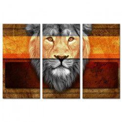 LION Tableau multi panneaux 120x80 cm orange