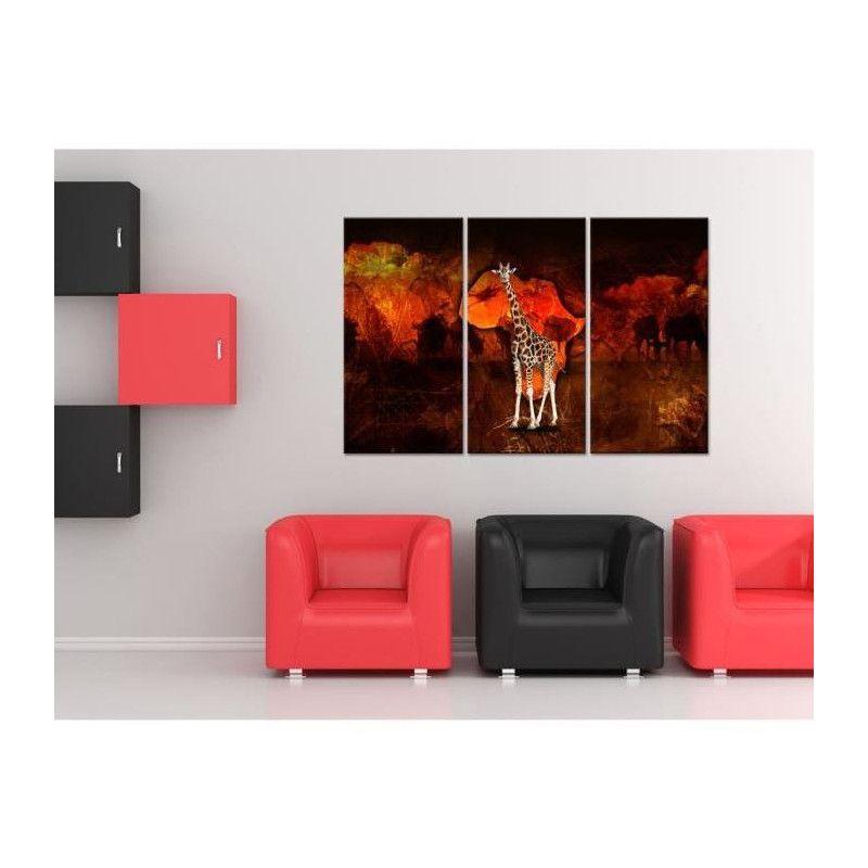 afrika tableau multi panneaux 120x80 cm marron. Black Bedroom Furniture Sets. Home Design Ideas
