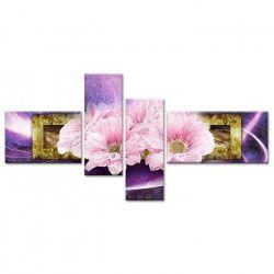 FLOWER Tableau multi panneaux 130x65 cm violet fleur