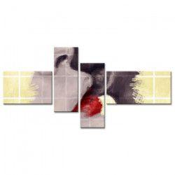 KISS Tableau multi panneaux 130x65 cm rouge