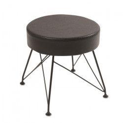 TROCA Pouf - Simili noir + pieds en métal - Style contemporain - Ø 36 cm