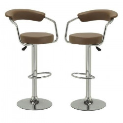 CHARLY Lot de 2 tabourets de bar en métal - Revetement PVC marron - Contemporain - H 64 cm