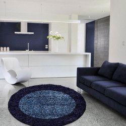 LIFE Tapis de salon shaggy rond Ø120 cm - Bleu