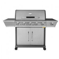 DUKE Barbecue a gaz 5 + 1 feux - Fonte - Grille + Plancha - Inox