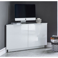 SWAN Meuble TV d`angle contemporain laqué blanc brillant - L 102 cm