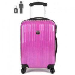 FRANCE BAG Valise Cabine Low Cost Rigide ABS et PC 4 Roues 50cm Fushia