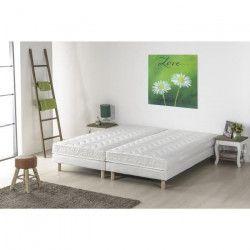 Ensemble matelas mousse mémoire de forme + 2 sommiers tapissiers - 160 x 200 - Confort ferme - Epaisseur 16 cm -