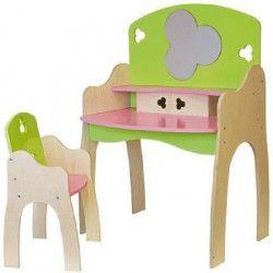 JB BOIS Coiffeuse 59x39 cm + Chaise Fille