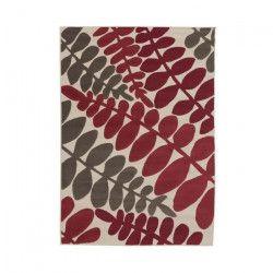 LUXUS Tapis de salon contemporain - 160x225cm - Rouge / Ivoire