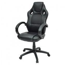 LAREN Chaise gamer - Simili et tissu noir - Style contemporain - L 64 x P 70 cm