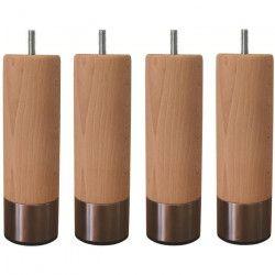 Jeu de pieds cylindriques en bois et inox brossé Ø 5 cm - H 14,5 cm - Lot de 4