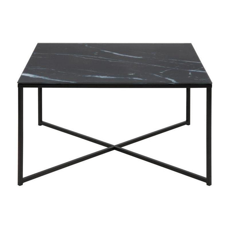 meilleur service 8fa0b e03b5 ALISMA Table basse carrée style contemporain en métal noir + plateau en  verre givré imprimé marbre noir - L 80