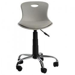 LYLO Chaise de bureau - Simili gris souris - Vintage - L 44 x P 51,5 cm
