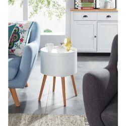 Zoe Table d`appoint ronde style scandinave laqué blanc satiné - L 38 x l 38 cm