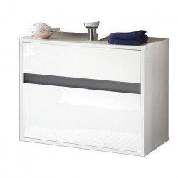SOL Meuble sous vasque L 67 cm - Blanc et gris, mat et brillant