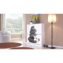 TIKA Meuble a chaussures contemporain blanc brillant et impression zen - L 74 cm