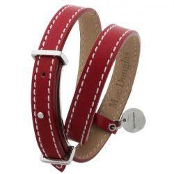 MAC DOUGLAS Bracelet Acier Cuir Rouge Mac Douglas 10 Mm 2 Tours
