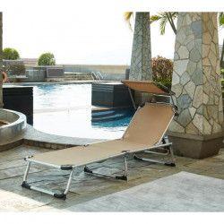 BEAU RIVAGE Chaise longue et pare-soleil Bikini en aluminium - Taupe