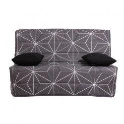 LIOM Banquette BZ 2 places - Tissu motif Saka - Style contemporain - L 142 x P 96 cm