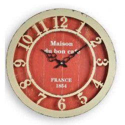 XCLOCK Horloge métal Chic - Ø 40 cm - Rouge