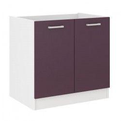 ULTRA Meuble bas de cuisine sous évier L 80 cm - Aubergine mat
