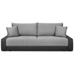 ROBBY Banquette convertible 3 places - Tissu gris clair et simili noir - Style contemporain - L 220 x P 93 cm
