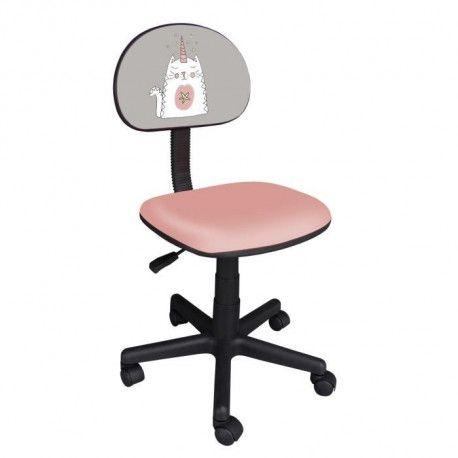 CHATON Tissu chat 39 L Chaise P cm avec licorne et rose de gris x bureau enfant 54 5 impression FKlTcJ31