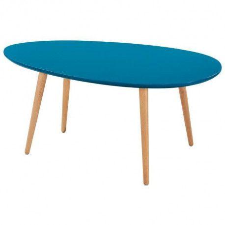 STONE Table basse ovale scandinave bleu paon laqué - L