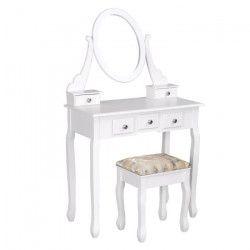 GSTAAD Coiffeuse + tabouret en bois massif et MDF romantique blanc - L 70 cm