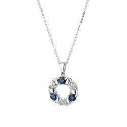 LE DIAMANTAIRE - Pendentif `Port Royal` Or Blanc et Diamants 0,05/12 Saphirs 0,54/3 - Femme