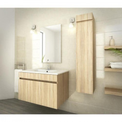 LUNA Ensemble salle de bain simple vasque L 80 cm - Décor oak sonoma