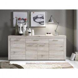 FIESTA Buffet bas contemporain mélaminé décor chene sablé - L 177 cm