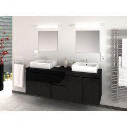 CINA Ensemble salle de bain double vasque L 150 cm - Noir laqué brillant