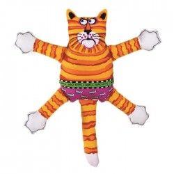 Fat Cat Mini Matou Terrible - Jouet avec sifflet - Coloris aléatoire : orange, bleu et violet - Pour petit chien