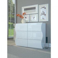 ONDA Commode contemporain - Laqué blanc brillant - L 110 cm