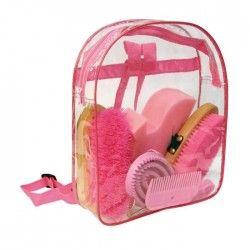 KERBL Kit de pansage sac a dos pour chevaux - Rose