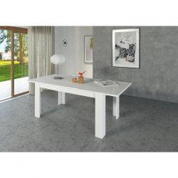 MILANO Table a manger extensible de 6 a 10 personnes style contemporain laqué blanc - L 160-210 x l 90 cm