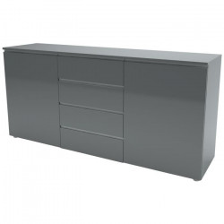 HOME AFFAIRE Buffet bas contemporain gris laqué - L 180 cm