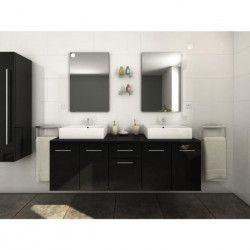 OLGA Ensemble salle de bain double vasque L 150 cm - Noir laqué brillant