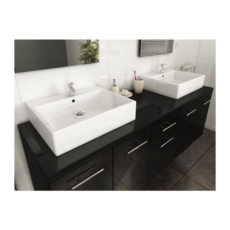 Olga ensemble salle de bain double vasque l 150 cm - Ensemble salle de bain double vasque ...