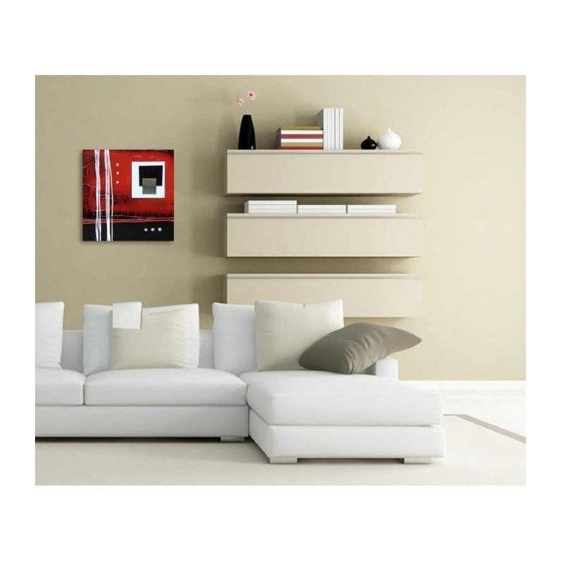 cubic tableau d co toile peinte a la main 30x30 cm rouge. Black Bedroom Furniture Sets. Home Design Ideas