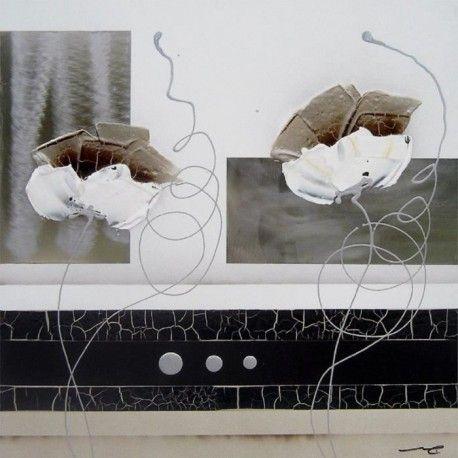floral tableau d co toile peinte a la main 30x30 cm beige. Black Bedroom Furniture Sets. Home Design Ideas
