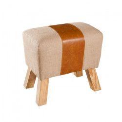 PRAGUES Tabouret cheval d`arçon en polyuréthane et jute beige - Classique - L 49 x P 32 cm