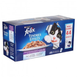 FELIX Tendres Effilés en gelée - Viandes et poissons - Sachets fraîcheur pour chat adulte - 44 x 100 g