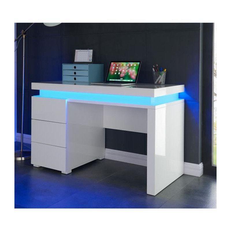 Flash bureau contemporain blanc brillant l 120 cm for Bureau blanc design contemporain