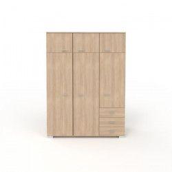 COSMOS Armoire de chambre style contemporain décor chene Brooklyn - L 146 cm