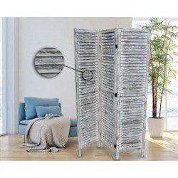 Paravent persienne en bois - H 170 x L 120 cm - Blanc